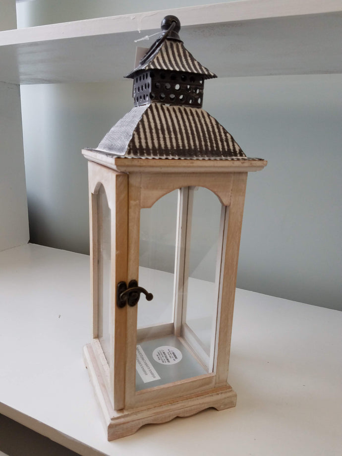 Brushed White Wooden Lantern