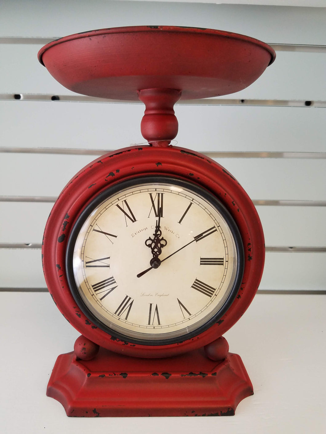 Red Metal Scale Clock