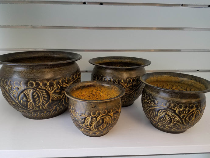 Plant Containers with Gold Leaves, Set of 4