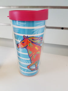 Bright Playful Horse 16 oz. Insulated Travel Tumbler with lid