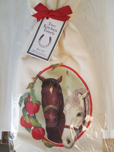 Two Horses Flour Sack Set of 2 Towels