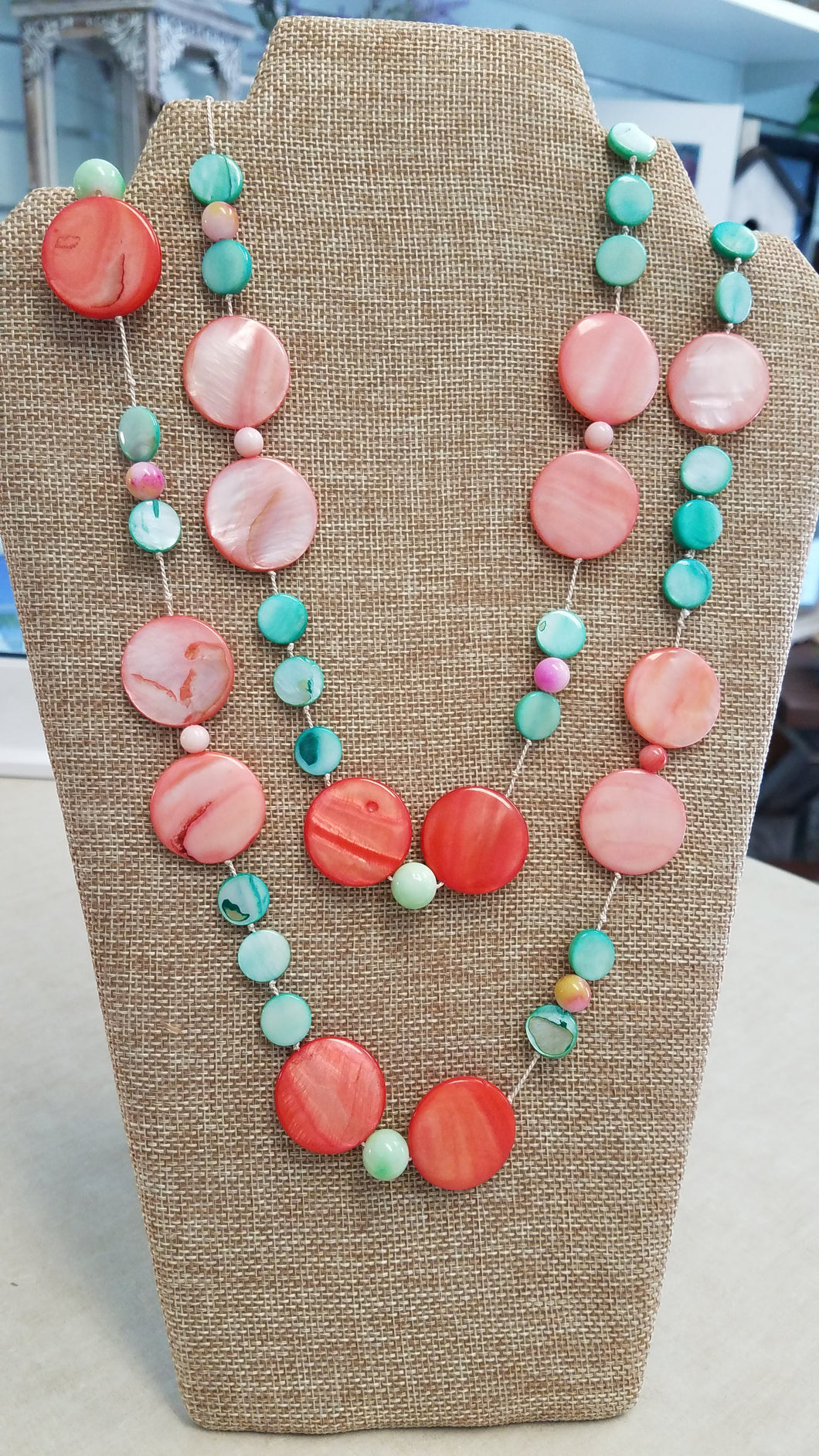 Orange and Teal Bead Necklace
