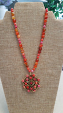 Load image into Gallery viewer, Tangerine Beaded Medallion Necklace