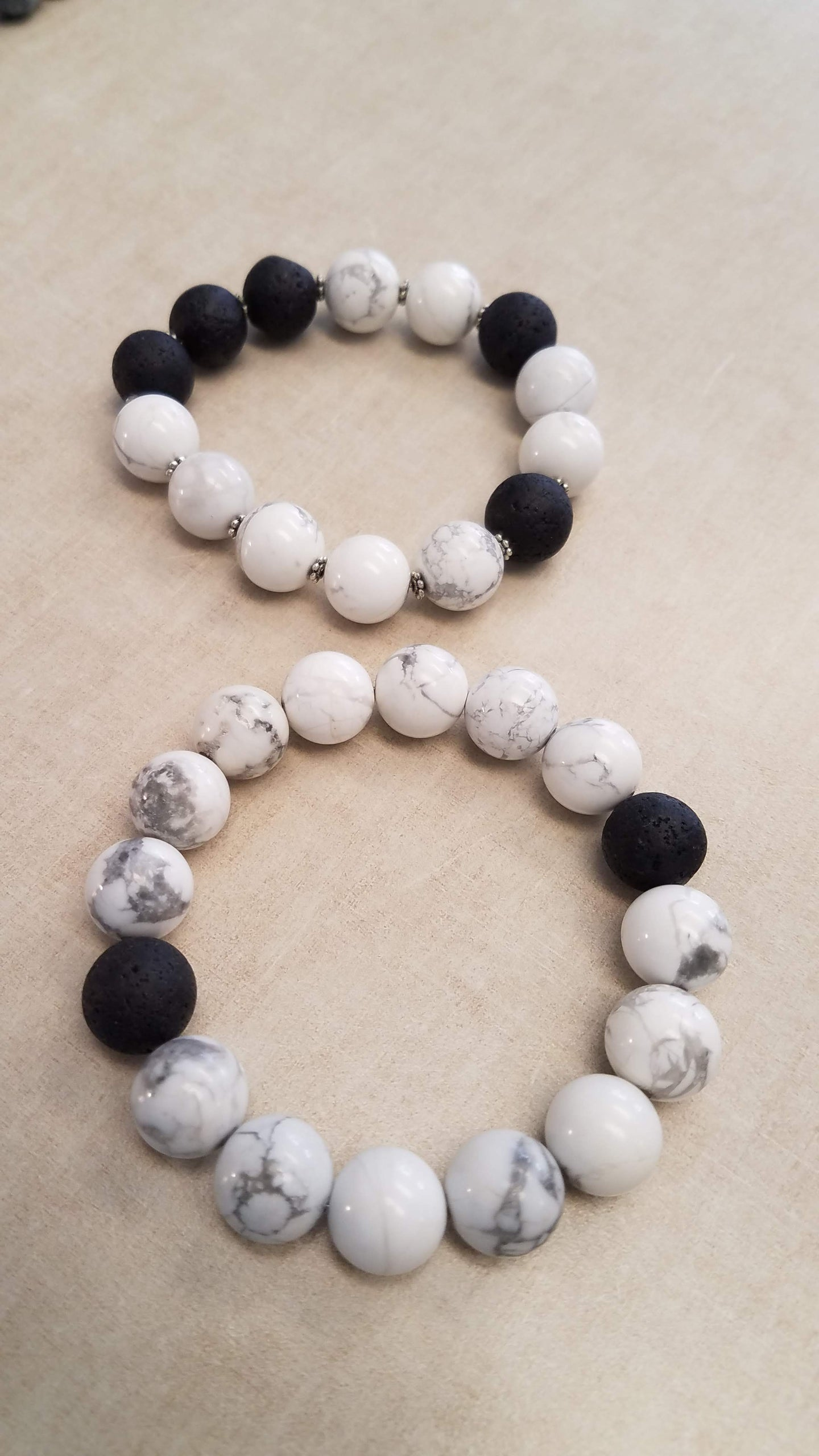 Beaded Infusion Bracelet - White Marble and Black Stones