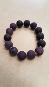 Beaded Infusion Bracelet - Wine and Black Stones