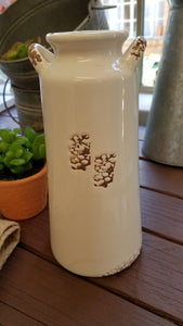White Ceramic Jug with Rust Accents