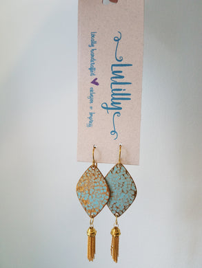 Solid Brass Teal Pendant Earrings