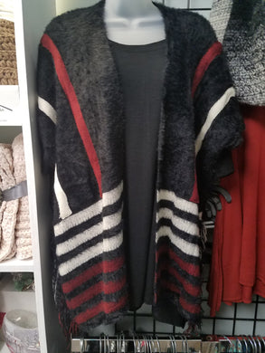 Shawl in Black with Red and White Stripes