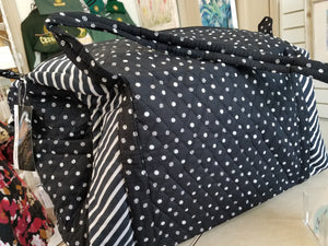 Fabric Duffle Bag - Black/White