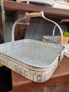 Cream Distressed Square Tray w/Handle