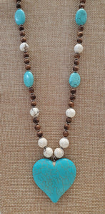 Turquoise with Heart Beaded Necklace