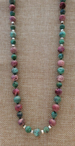 Pink and Green Druzy Agate Beaded Necklace