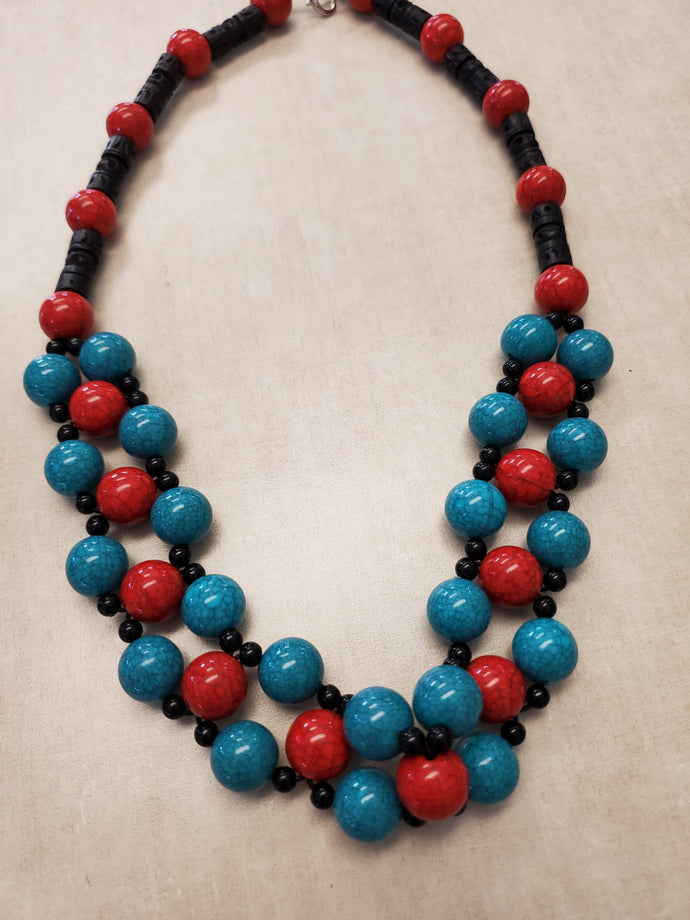 Turquoise and Red Beaded Necklace