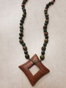 Wood Medallion Necklace