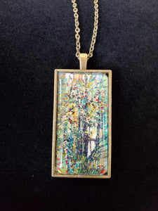 Fall Tree Artwork on Rectangle Necklace