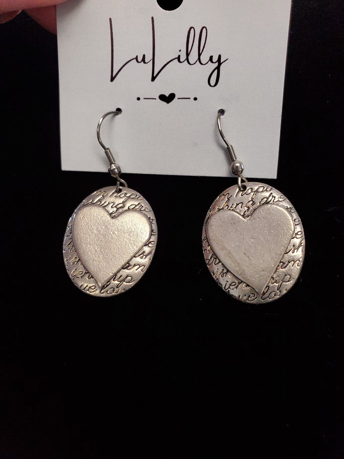 Silver Heart Overlay Earrings by LuLilly