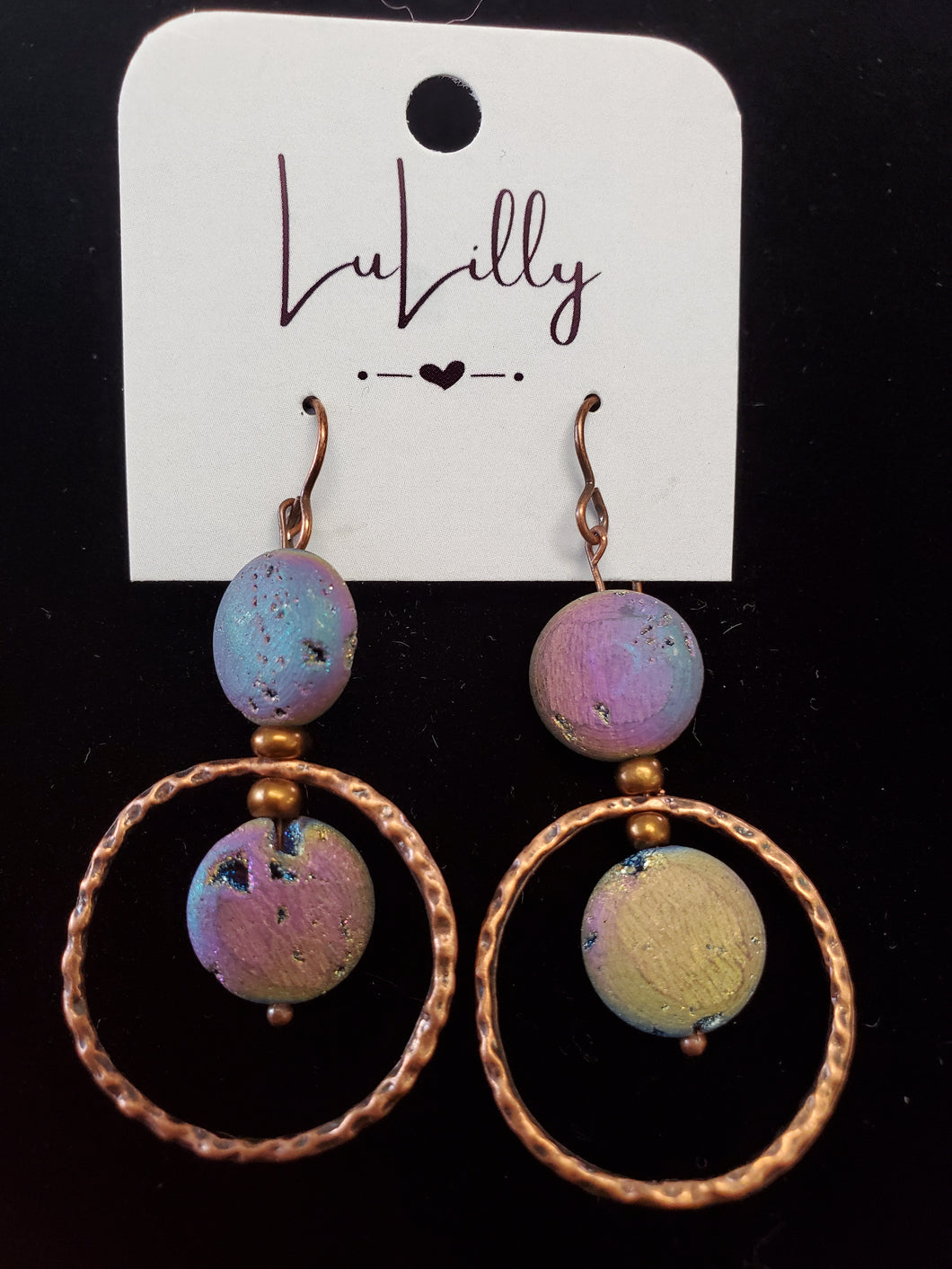 Purple and Copper Drop Earrings by LuLilly