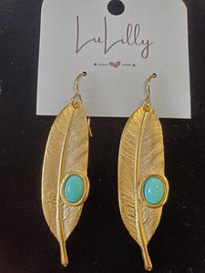 Gold Leaf and Teal Earrings by LuLilly