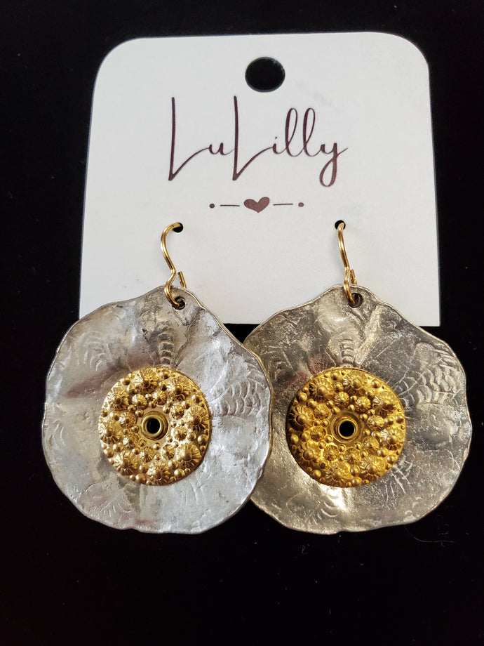 Round Gold and Silver Earrings by LuLilly