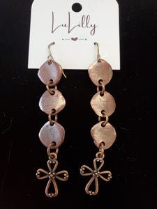 Copper Cross Drop Earrings