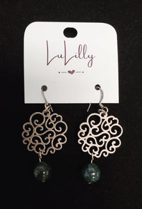 Antique Silver & Dark Green Earrings