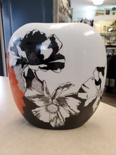 Load image into Gallery viewer, Hand-Painted Orange and Black Floral Vase