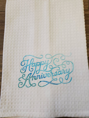 Happy Anniversary Embroidered Tea Towel