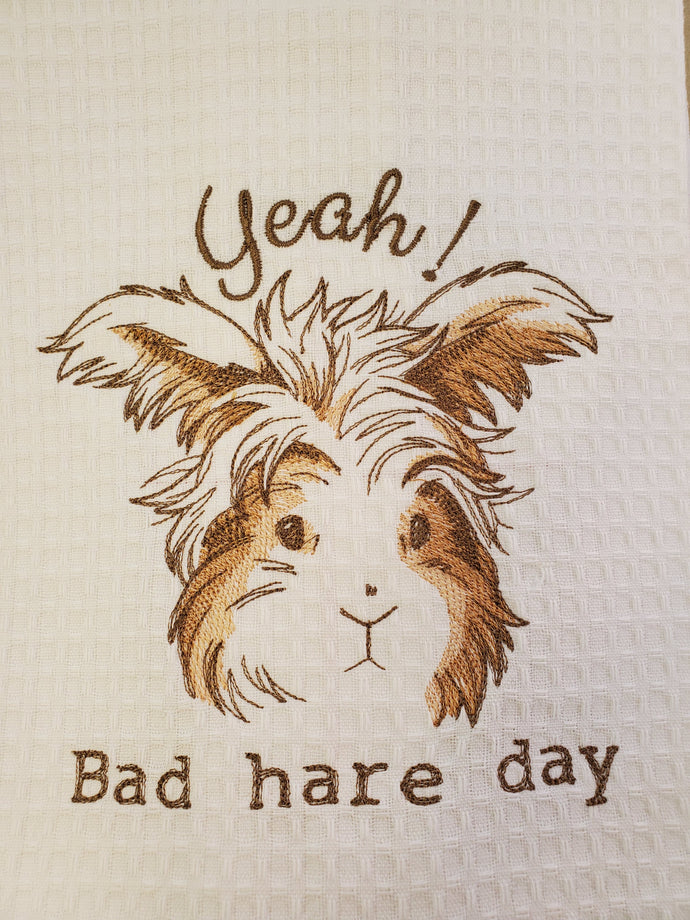 Bad Hare Day Embroidered Tea Towel