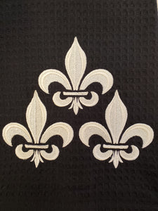 Fleur De Lis Trio Embroidered Tea Towel