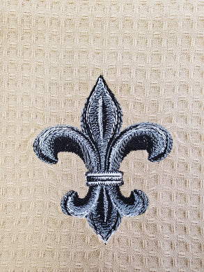 Fleur De Lis Embroidered Tea Towel