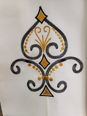 Fancy Fleur De Lis Embroidered Tea Towel