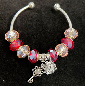 Amour Bangle Bracelet w/ Red Beads