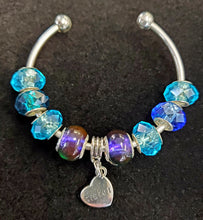 Load image into Gallery viewer, Sister Bangle Bracelet w/ Blue Beads
