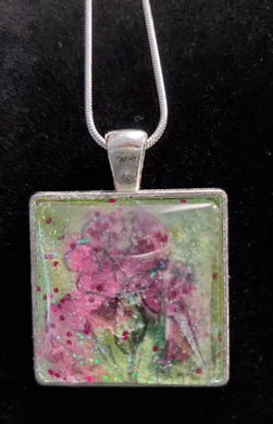 Hand-Painted Pink Floral Necklace