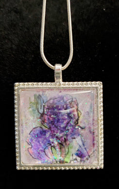 Hand-Painted Purple Iris Necklace