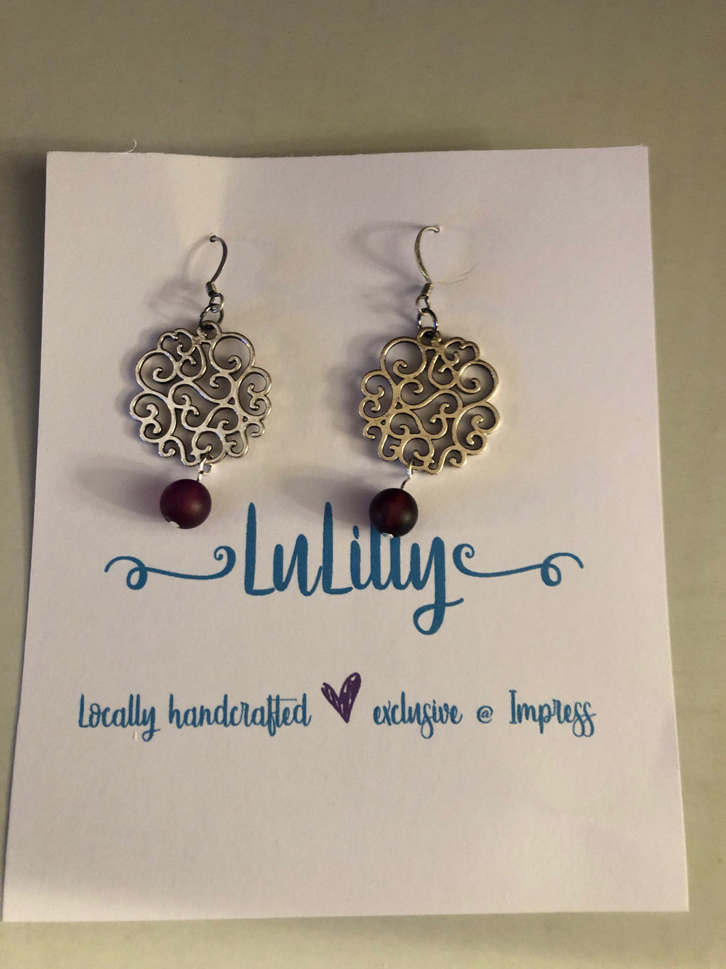 Antique Silver & Purple Earrings