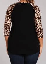 Load image into Gallery viewer, Leopard Sleeve Black Top - Plus Sizes!
