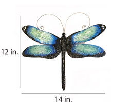 Load image into Gallery viewer, Blue Dragonfly Wall Decor - Indoor or Outdoor