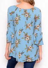 Load image into Gallery viewer, Blue Floral Print Blouse - On or Off Shoulder