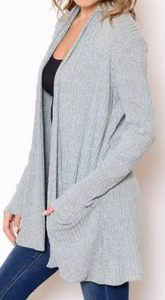 Sweater Knit Pocket Cardigan - Light Gray