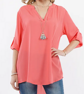Lightweight Fashion Top w/fold-over sleeve