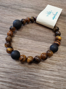 Beaded Infusion Bracelet - Brown Tiger Eye and Black Stones