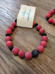 Beaded Infusion Bracelet - Red and Black Stones