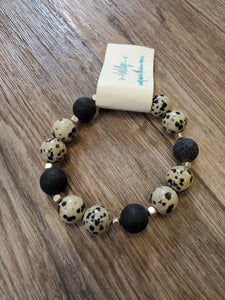 Beaded Infusion Bracelet - Speckled and Black Stones