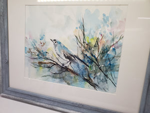 """Blue Gray Bird"" Watercolor Painting"