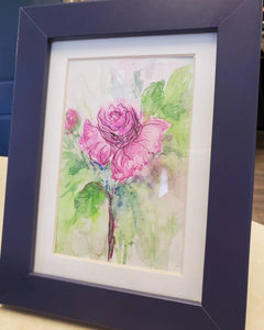 """Pink Rose"" Watercolor Framed Painting"