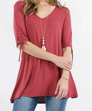Ruched Sleeve Tunic