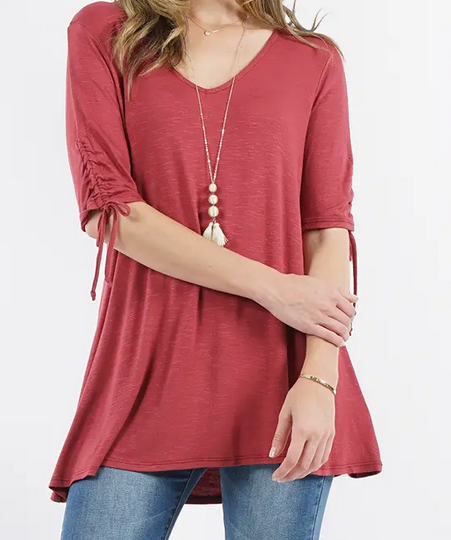 Ruched Sleeve Tunic - Choose Color