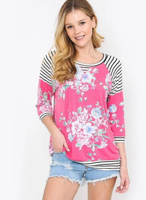 Pink Floral Fashion Top