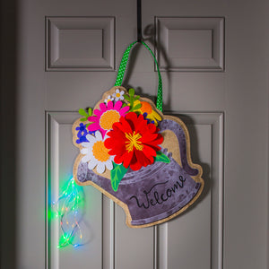 Lighted Watering Can Door Decor w/ 3D Accents